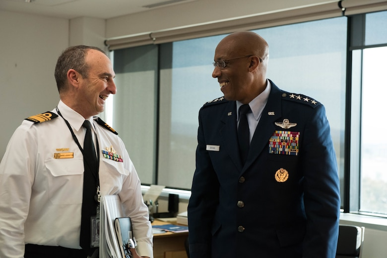 Gen. CQ Brown, Jr., Pacific Air Forces commander, attends an office call with Vice Admiral David Johnston, Australian Defense Force vice chief, at the Russell offices, Canberra, Australia, Aug. 10, 2018. His first trip to the region since taking command on July 26, 2018, Brown met with key defense and military leaders in Canberra and Royal Australian Air Force Bases Williamtown, Tindal and Darwin to see first-hand the strength of the U.S.-Australia alliance and discuss opportunities to ensure a free and open Indo-Pacific region. (U.S. Air Force photo by Staff Sgt. Hailey Haux)