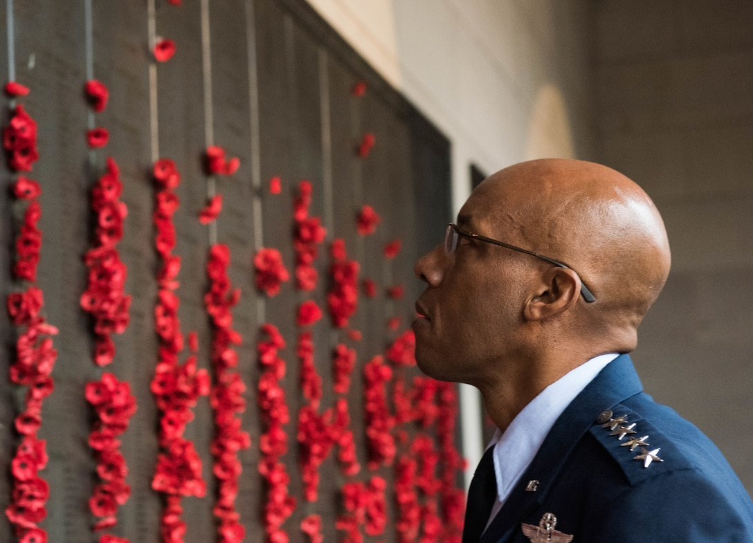 "Gen. CQ Brown, Jr., Pacific Air Forces commander, walks around the Australia War Memorial before a ""Last Post"" ceremony in Canberra, Australia, Aug. 11, 2018. The ceremony was held to honor Pvt. Robert Young of the Australian Army, who fought in World War II and died March 21, 1944. (U.S. Air Force photo by Staff Sgt. Hailey Haux)"