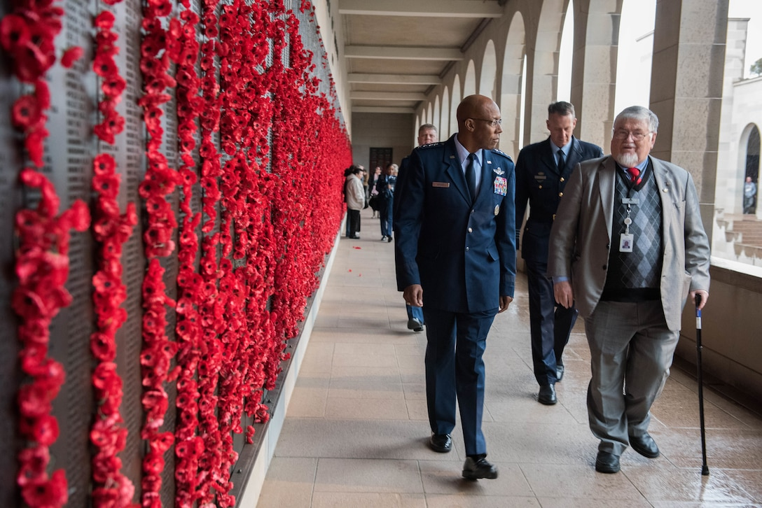 """Gen. CQ Brown, Jr., Pacific Air Forces commander, walks around the Australia War Memorial before a """"Last Post"""" ceremony in Canberra, Australia, Aug. 11, 2018. The ceremony was held to honor Pvt. Robert Young of the Australian Army, who fought in World War II and died March 21, 1944. (U.S. Air Force photo by Staff Sgt. Hailey Haux)"""