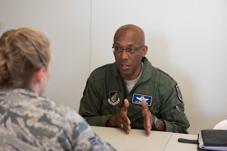 Gen. CQ Brown, Jr., Pacific Air Forces commander, is interviewed by Senior Airman Savannah Waters, 8th Fighter Wing public affairs photojournalist from Kunsan Air Base, Republic of Korea, during Exercise Pitch Black 18 at Royal Australian Air Force Base Darwin, Australia, Aug. 13, 2018. Waters is among the 4,000 personnel representing 16 nations at this year's biennial multinational large force employment exercise hosted by the RAAF.    (U.S. Air Force photo by Staff Sgt. Hailey Haux)