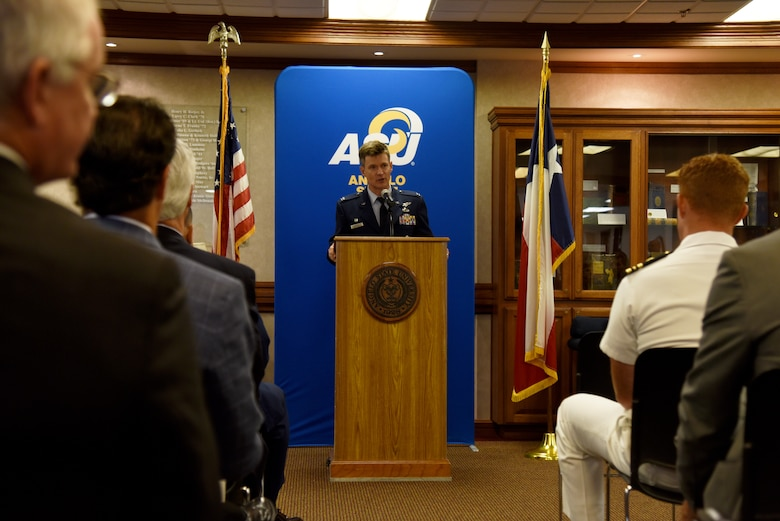 U.S. Air Force Col. Thomas Coakley, 17th Training Group commander, speaks during the Angelo State University and National Cryptologic School Articulation Agreement Signing Ceremony at ASU's Houston Harte University Center in San Angelo, Texas, Aug. 16, 2018. ASU and NCS involved Goodfellow Air Force Base in the signing ceremony because the 17th TRG trains some of the students that are eligible for the free ASU credits. (U.S. Air Force photo by Staff Sgt. Joshua Edwards/Released)