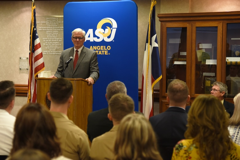 National Cryptologic School commandant, Dr. Leonard Reinsfelder, speaks during the Angelo State University and NCS Articulation Agreement Signing Ceremony at ASU's Houston Harte University Center in San Angelo, Texas, Aug. 16, 2018. Reinsfelder and the NCS are responsible for delivering flexible education, training and learning solutions that respond to the needs of the National Security Agency and U.S. Cyber Command in support of the global cryptologic mission. (U.S. Air Force photo by Staff Sgt. Joshua Edwards/Released)