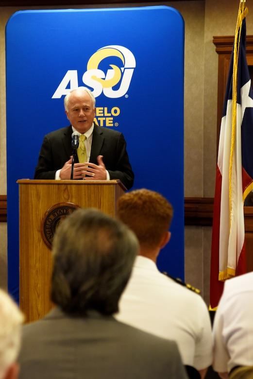 Angelo State University president, Dr. Brian May, speaks during the ASU and National Cryptologic School Articulation Agreement Signing Ceremony at ASU's Houston Harte University Center in San Angelo, Texas, Aug. 16, 2018. The agreement allows National Security Agency employees to transfer their NCS credits into seven different ASU undergraduate, graduate degrees and certificate programs. (U.S. Air Force photo by Staff Sgt. Joshua Edwards/Released)