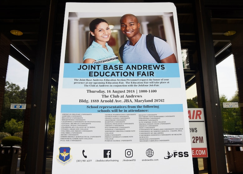 An education fair informational poster is placed outside The Club at Joint Base Andrews, Md., Aug. 16, 2018. Over 30 colleges and universities were represented at the event. (U.S. Air Force photo by Senior Airman Abby L. Richardson)