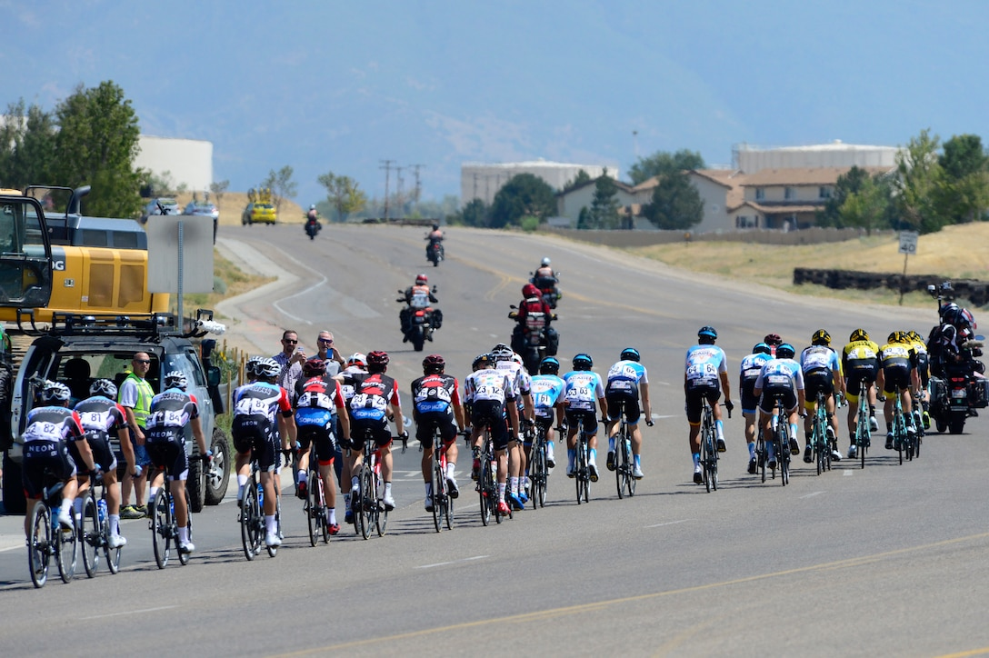 The peloton during stage 3 of the 2018 Tour of Utah road race Aug. 9, 2018, at Hill Air Force Base, Utah. The Tour of Utah is one of the top professional cycling events in the country and showcases some of the world's best teams and cyclists. Stage 3 of the multiday race took riders on a 116-mile route from Antelope Island to Layton and included a loop through the installation. (U.S. Air Force photo by David Perry)