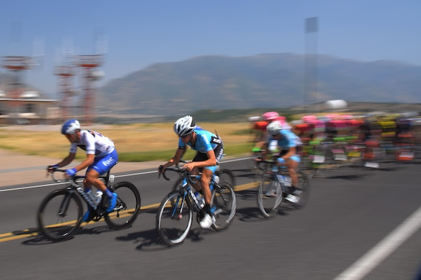 The peloton during stage 3 of the 2018 Tour of Utah road race Aug. 9, 2018, at Hill Air Force Base, Utah. The Tour of Utah is one of the top professional cycling events in the country and showcases some of the world's best teams and cyclists. Stage 3 of the multiday race took riders on a 116-mile route from Antelope Island to Layton and included a loop through the installation. (U.S. Air Force photo by Todd Cromar)