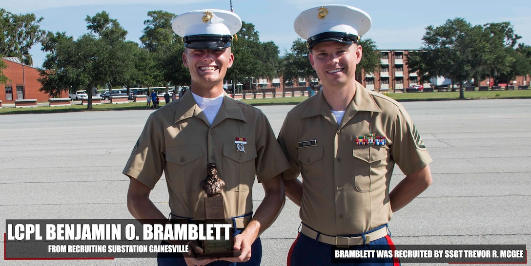 Lance Corporal Benjamin Bramblett completed Marine Corps recruit training as the company honor graduate of Platoon 3056, Company I, 3rd Battalion, Recruit Training Regiment, aboard Marine Corps Recruit Depot Parris Island, South Carolina, August 17, 2018. Bramblett was recruited by Staff Sergeant Trevor McGee from Recruiting Substation Gainesville. (U.S. Marine Corps photo by Lance Cpl. Jack A. E. Rigsby)