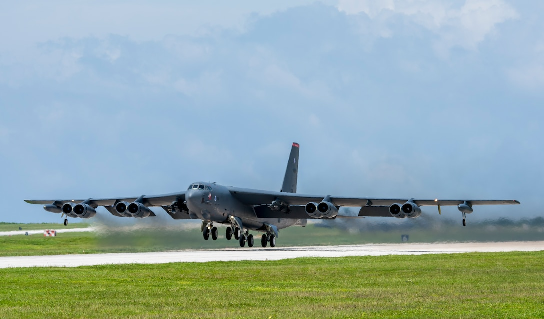 A U.S. Air Force B-52H Stratofortress bomber takes off from Andersen Air Force Base, Guam, on a higher headquarters-directed Continuous Bomber Presence mission in support of exercise Pitch Black 18 in Australia's Northern Territory Aug. 6, 2018 (HST). Bilateral training between the United States and allies like Australia increases interoperability and strengthens our long-standing military-to-military partnerships. (U.S. Air Force photo by Airman 1st Class Christopher Quail)