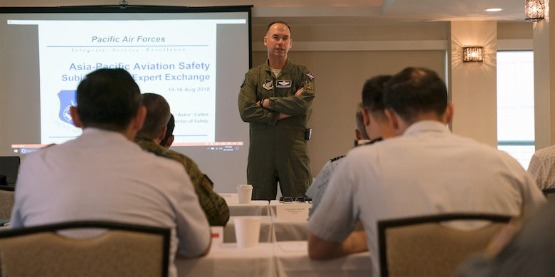 U.S. Air Force Maj. Gen. Brian M. Killough, Chief of Staff, Pacific Air Forces, provides opening remarks for the Asia-Pacific Aviation Safety Subject Matter Expert Exchange (APASS) in Honolulu, Hawaii, Aug. 14, 2018. APASS allows partner nations in the Indo-Pacific to discuss aviation safety practices and devise solutions to challenges faced by the various air forces. (U.S. Air Force photo by Staff Sgt. Daniel Robles)