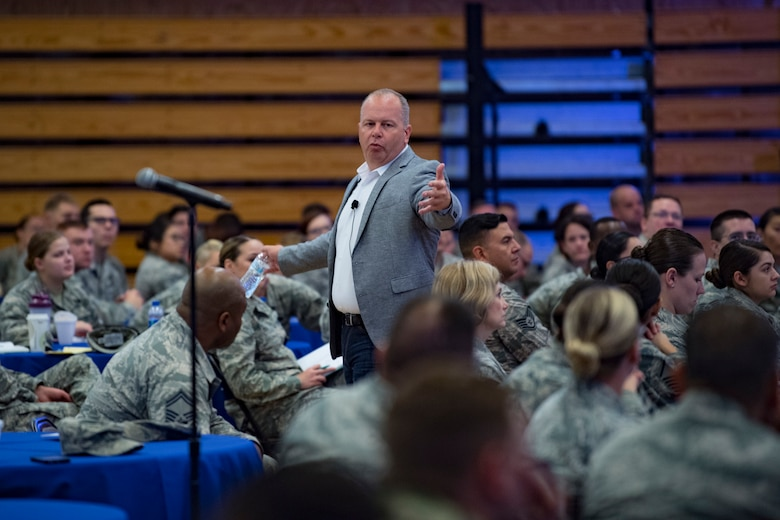 (Ret.) Chief Master Sgt. James Hotaling, the former Command Chief Master Sgt. of the Air National Guard, talks with Airmen August 17, 2018 at the Enlisted Leadership Symposium (ELS) at Camp Dawson, W.Va. More than 400 Airmen representing Air National Guard units from each state and territory attended the ELS, a three-day event focused on leadership and professional development. (U.S. Air National Guard Photo by Airman 1st Class Caleb Vance)