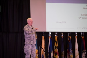 Lt. Gen. Scott L. Rice, Director of the Air National Guard, serves as a guest speaker at the Enlisted Leadership Symposium (ELS) August 15, 2018 at Camp Dawson, W.Va. More than 400 Airmen representing Air National Guard units from each state and territory attended the ELS, a three-day event focused on leadership and professional development. (U.S. Air National Guard Photo by Airman 1st Class Caleb Vance