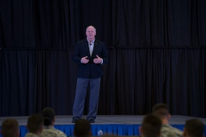 Chief Master Sgt. Chris Muncy (Ret.), former Command Chief Master Sgt. of the Air National Guard, talks with Airmen August 15, 2018 at the Enlisted Leadership Symposium at Camp Dawson, W.Va. More than 400 Airmen representing Air National Guard units from each state and territory attended the ELS, a three-day event focused on leadership and professional development. (U.S. Air National Guard Photo by Airman 1st Class Caleb Vance)