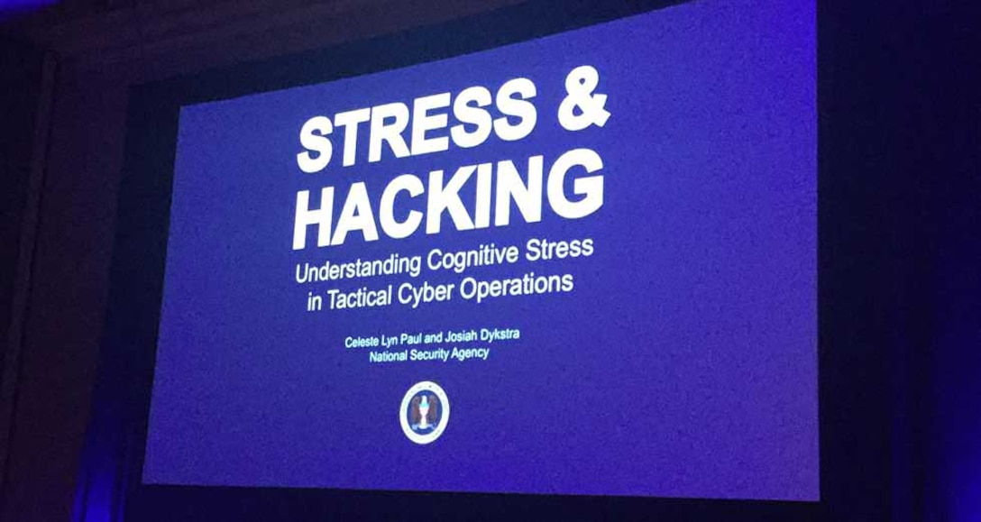 Photo of title slide of Black Hat conference presentation, Stress and Hacking: Understanding Cognitive Stress in Tactical Cyber Operations