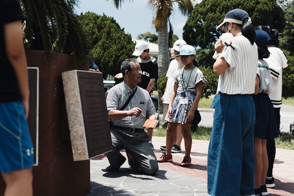 Children from both Achi Village of Shimoina District, Nagano Prefectre and Okinawa City, Japan, visited Kadena Air Base to visit historical World War II sites, Aug. 6, 2018.