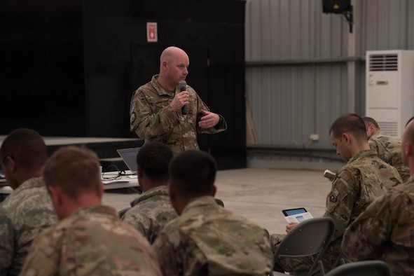 Col. Cory Reid, Senior Air Reserve Component advisor, speaks to Air Reserve and Air National Guard members at a town hall meeting on Al Dhafra Air Base, Aug. 9, 2018.  Reid, along with Lt. Col. Andrew Frankel, Deputy Air Reserve Component advisor, visited Reserve and Guard members in the 380th Air Expeditionary Wing to inform them on their entitled benefits and address any concerns members may have while deployed. (U.S. Air Force photo by Staff Sgt. Erica Rodriguez)