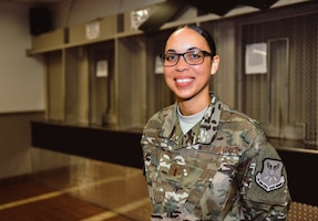 Second Lt. Jasmine Scott smiles after her commissioning ceremony concluded Aug. 10, 2018, at Whiteman Air Force Base, Mo. Scott commissioned into the medical services corps, after serving as an enlisted armorer at the 509th Security Forces Squadron. (U.S. Air Force photo by Tech. Sgt. Alexander W. Riedel)
