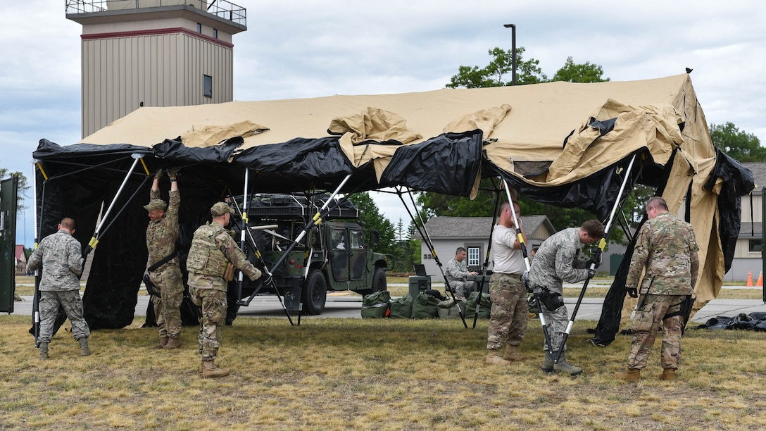 The 123rd CRG worked in conjunction with the U.S. Army's 690th Rapid Port Opening Element to operate a Joint Task Force-Port Opening during the exercise. The objective of the JTF-PO is to establish a complete air logistics hub and surface distribution network. (U.S. Air National Guard photo by Maj. Allison Stephens)