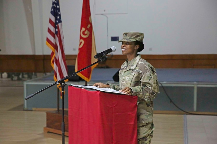 U.S. Army Capt. Rawlene Grandison offers her farewell address as the outgoing company commander during the Headquarters Company of Area Support Group Qatar's change of command at Camp As-Sayliyah, Qatar, July 31, 2018.  Capt. Grandison expressed her appreciation for the Soldiers of the ASG-QA and their hard work over the past year.