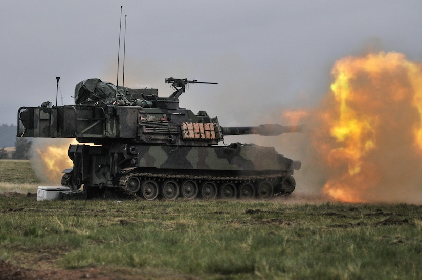 A Paladin howitzer from 2nd Battalion, 222nd Field Artillery Regiment, 65th FA Brigade, Utah Army National Guard, fires a direct fire mission on Camp Guernsey, Wyo., May 16, 2016, during Operation Gunsmoke 16. Operation Gunsmoke is the 65th Field Artillery Brigade live-fire exercise consisting of 1,300 Soldiers from six states, conducting operations in Camp Guernsey for annual training 2016.