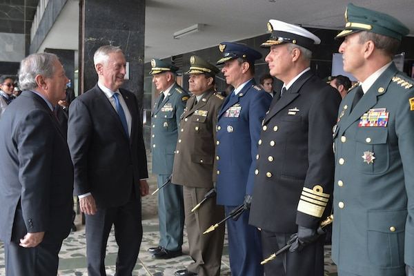 Defense Secretary James N. Mattis meets members of the Colombian military during his visit to Bogota, Colombia, Aug. 17, 2018.