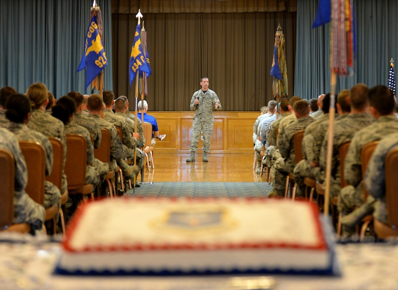 Maj. Gen. Robert Skinner, Air Forces Cyber commander, speaks to Airmen during his commander's call at Joint Base San Antonio-Lackland, Texas, Aug. 17, 2018. The call was also hosted to celebrate the unit's ninth birthday since its Aug. 18, 2009 activation. (U.S. Air Force photo by Tech. Sgt. R.J. Biermann)
