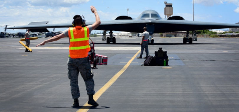 U.S. Air Force B-2 Spirits, deployed from Whiteman Air Force Base, Missouri, land at Joint Base Pearl Harbor-Hickam (JBPH-H), Hawaii, Aug. 15, 2018. B-2s regularly rotate through the Indo-Pacific region to conduct routine air operations, which integrate capabilities with key regional partners and demonstrate U.S. commitment to peace and stability in the region. These operations are in support of the U.S. Strategic Command's Bomber Task Force deployment.