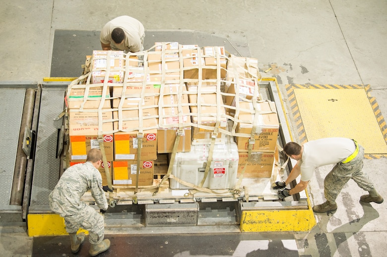 Team Dover Airmen with the 436th Aerial Port Squadron Special Handling section palletize a shipment of blood bound for overseas Aug. 2, 2018, at Dover Air Force Base, Del. The shipment of blood products must reach their overseas destination within 72 hours of being packaged at Joint Base McGuire-Dix-Lakehurst, requiring precise coordination from the various sections involved.