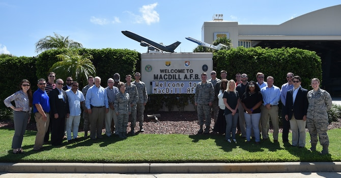 Joint Base Charleston and MacDill Air Force Base leadership pose for a picture with Charleston civic leaders, Aug. 16, 2018. The civics took a two-day tour of MacDill Air Force Base, Fla., allowing them to learn more about the overall Air Force mission.