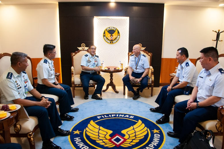 Philippine Air Force Maj. Gen. Allen T. Paredes, Chief of Air Staff and Maj. Gen. James O. Eifert, Air National Guard Assistant to the Commander, Pacific Air Forces talk during an office call.