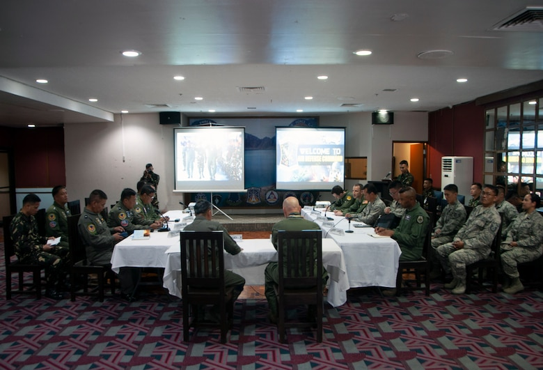 Senior officials from the Philippine Air Force and the a team comprised of U.S. Air National Guard airmen engage in an executive discussion session