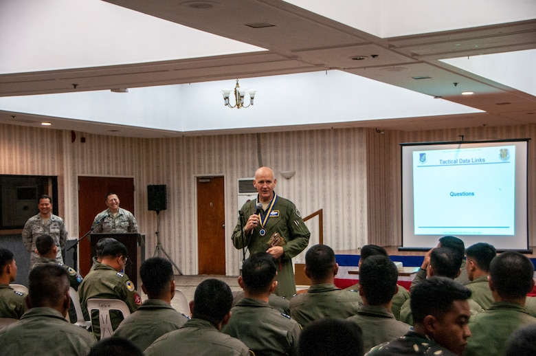 U.S. Air Force Maj. Gen. James O. Eifert, Air National Guard Assistant to the Commander, Pacific Air Forces speaks to pilots from the Philippine Air Force