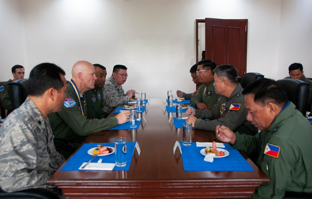 A contingent of U.S. Air Force officers engage in table top discussions on air defense with senior officials from the Philippine Air Force