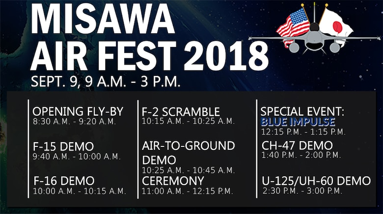Team Misawa hosts Air Fest 2018 at Misawa Air Base, Japan, Sept. 9, 2018. The annual air show and open house affords community members to engage with Japan and U.S. military personnel, while observing various aircraft static displays and demonstrations. (U.S. Air Force graphic by Senior Airman Sadie Colbert)