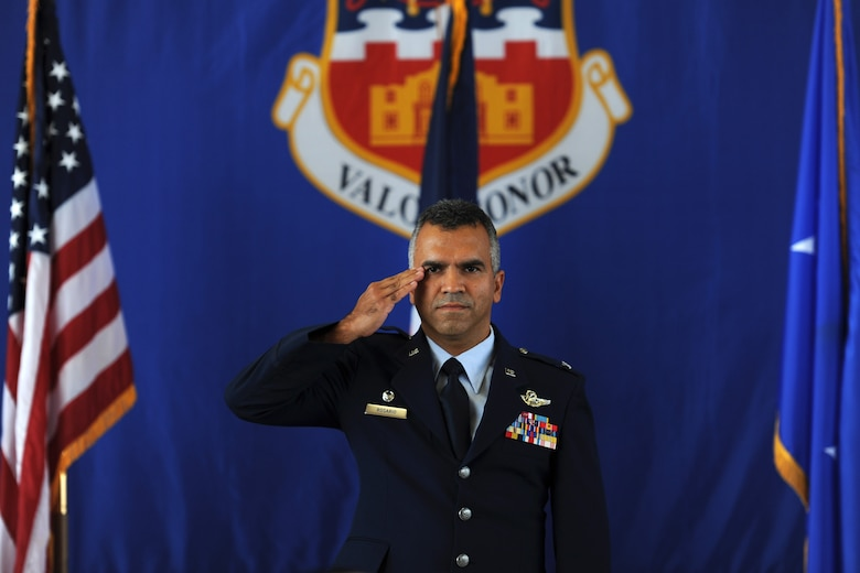 Col. Raul Rosario receives his first salute as commander of the 149th Fighter Wing.