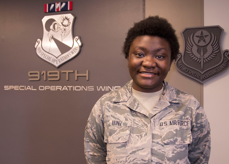 Senior Airman Tamekia Hunt, 919th Special Operations Force Support Squadron.