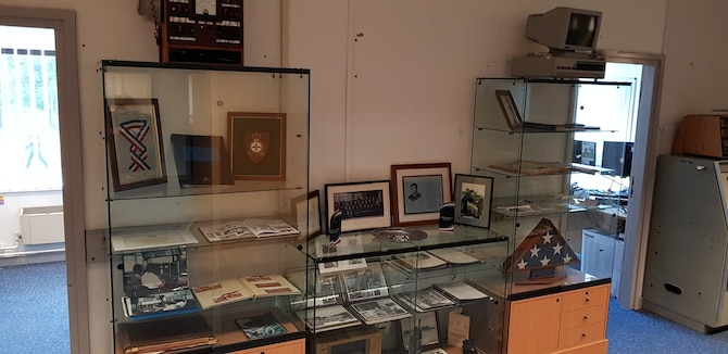 "The heritage display in the ""Tiger's Den"" of the 422nd Communications Squadron."