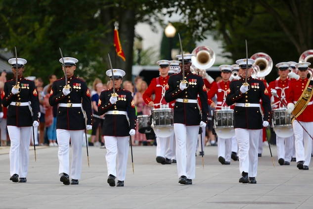 On Tuesday, Aug. 14, 2018, Marine Band administrative clerk Sergeant Kimberly Santiago served as the Marine Barracks Washington non-commissioned officer parade commander. (U.S. Marine Corps photo by Gunnery Sgt. Rachel Ghadiali/released)