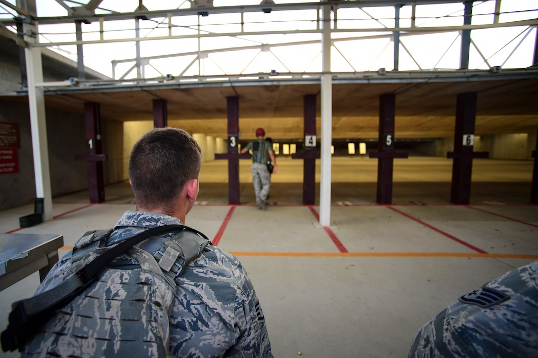 An Airman observes shooting drills at CATM