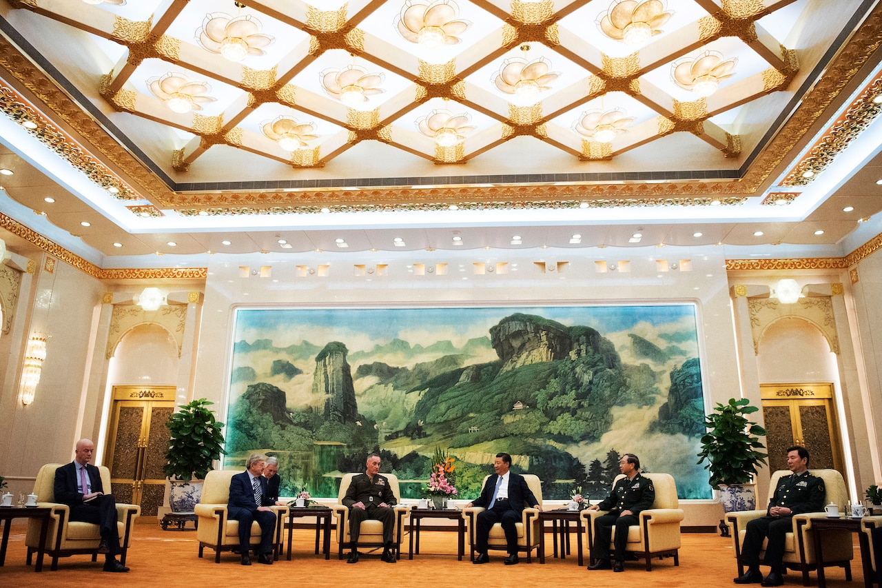 Marine Corps Gen. Joe Dunford, chairman of the Joint Chiefs of Staff, meets with Chinese President Xi Jinping in the Great Hall of the People in Beijing.