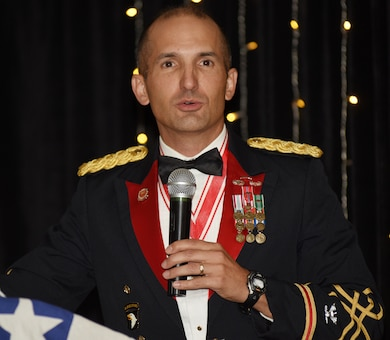 Col. Paul J. Kremer, U.S. Army Corps of Engineers Great Lakes and Ohio River Division deputy commander, gives the keynote address during the Nashville District 130th Anniversary Ball Aug. 18, 2018 at the Embassy Suites in Nashville, Tenn. (USACE Photo by Lee Roberts)