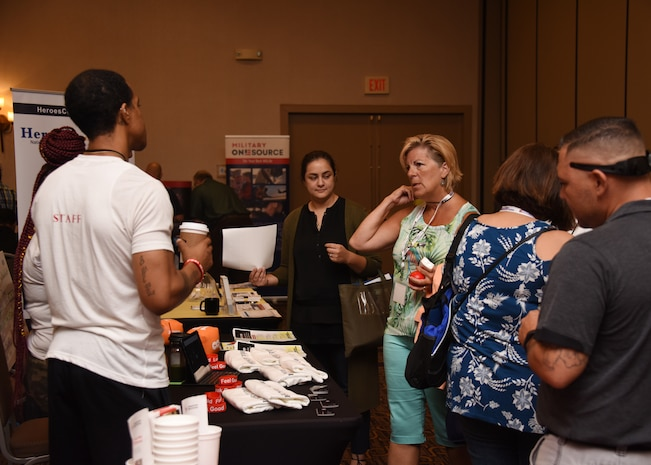 Members from the 166th Airlift Wing attend a Yellow Ribbon Reintegration Program Event at the Hilton Double Tree in Wilmington, Del., Aug. 18, 2018. The Yellow Ribbon Reintegration Program, a federally-mandated program, encompasses a cooperative network of military services, veteran service organizations, federal and state governmental departments and other agencies which provide information, resources, referral and proactive outreach throughout the deployment cycle. (U.S. Air National Guard Photo by Senior Airman Katherine Miller)