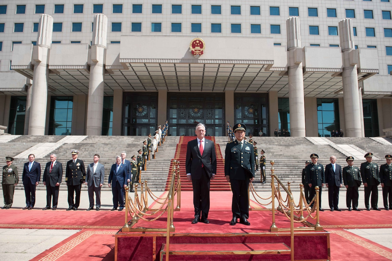 Defense Secretary James N. Mattis meets with China's Defense Minister Gen. Wei Fenghe at the People's Liberation Army's Bayi Building in Beijing.