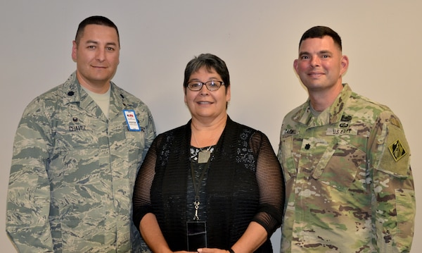 (L-R): Lt. Col. Orlando Chavez; Rose Chavez, ACE-IT operations officer; Albuquerque District Commander Lt. Col. Larry Caswell, Jr., Aug. 1, 2018, after Lt. Col. Chavez shared his leadership philosophy with the District's LDP I class.