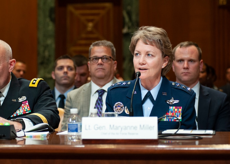 Lt. Gen. Maryanne Miller, chief of Air Force Reserve, and commander, Air Force Reserve Command, testifies with fellow Guard and Reserve component chiefs during the U.S. Senate Committee on Appropriations hearing at the Dirksen Senate Office Building, Washington D.C., April 17, 2018. The chiefs met with the committee to discuss fiscal year 2019 budgeting for the Guard and Reserve. (U.S. Air Force photo by Tech. Sgt. Kat Justen)