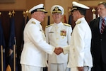 Rear Adm. David A. Goggins (right) relieved Rear Adm. Michael E. Jabaley (left) as Program Executive Officer (PEO) for Submarines during a Vice Adm. Tom Moore, NAVSEA (center) hosted change of office ceremony at the Washington Navy Yard, Aug. 17.
