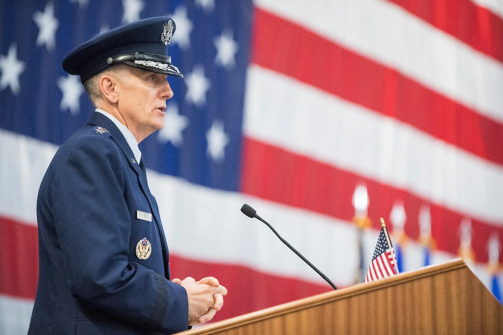 Gen. Timothy Ray addresses the audience after assuming command of Air Force Global Strike Command during a ceremony at Barksdale Air Force Base, La., Aug. 21, 2018