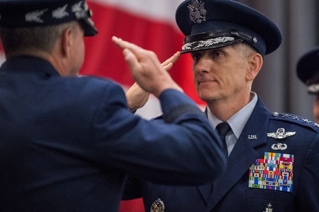 Gen. Timothy Ray assumes command of the Air Force Global Strike Command during a ceremony at Barksdale Air Force Base, La., Aug. 21, 2018.