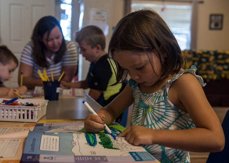 Team Fairchild families use the Family Child Care program to care for their children during the duty day at Fairchild Air Force Base, Washington, Aug. 16, 2018. FCC providers offer children a consistent and personal learning space in an in-home environment. (U.S. Air Force photo/Airman 1st Class Whitney Laine)