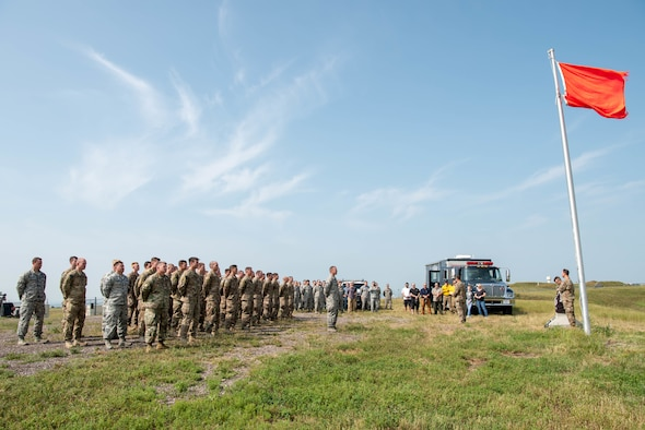 A ceremony is held to dedicate the explosive ordnance disposal range at Ellsworth Air Force Base, S.D., Aug. 17, 2018. The range was named in honor of Staff Sgt. Bryan D. Berky, an EOD technician deployed from Ellsworth AFB who was killed in action on Sept. 12, 2009, while serving in the western province of Farah, Afghanistan. (U.S. Air Force photo by Tech. Sgt. Jette Carr)