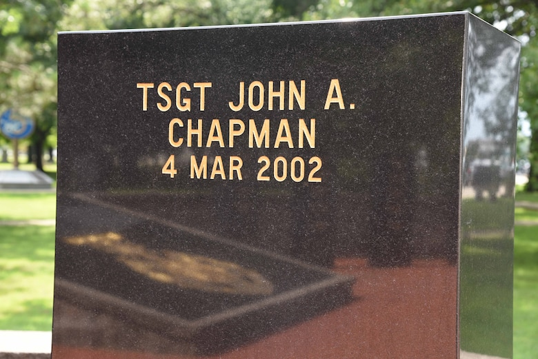 On March 4, 2002, Tech. Sgt. John Chapman sacrificed his life to preserve those of his special operations teammates during a rescue attempt on Takur Ghar mountain, Afghanistan. Here is a photo of his name inscribed in stone at Valor Park. (U.S. Air Force photo by Ken LaRock)